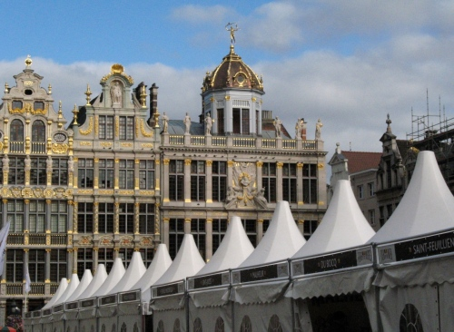 View of the Grand-Place and some of the booths