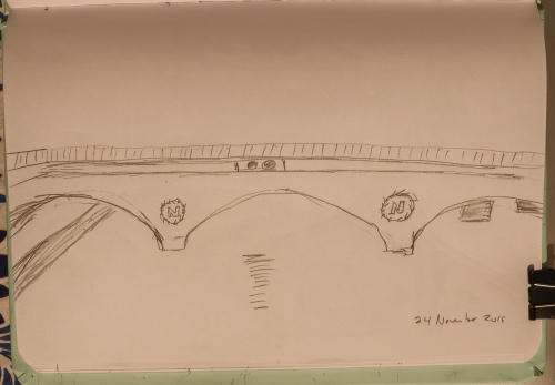 Pont St Michel Bridge sketch