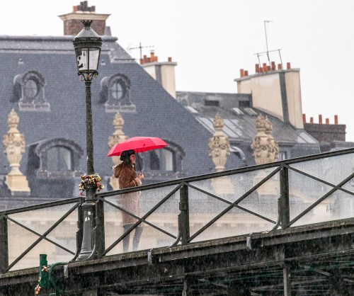 Red umbrella in Paris